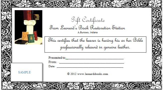Gift Certificates   Leonard\'s Book Restoration